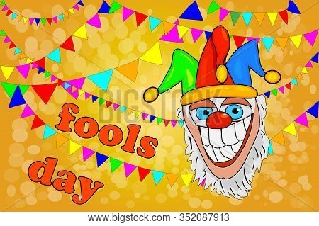 Design Banner For April Fools Day With Crazy Jester And Garlands. Poster Template For Holiday Of Jok