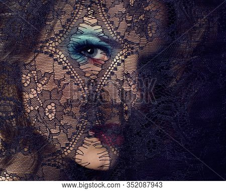 Portrait Of Beauty Young Woman Through Lace Close Up Mistery Makeup Sexy, Fashion People Concept