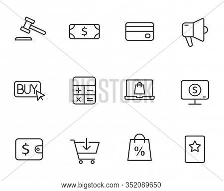 E-commerce Outline Vector Icons Set Isolated On White Background. Business Commerce Comcept. E Comme
