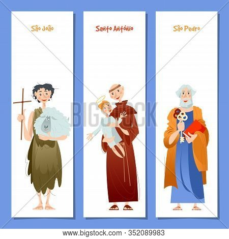 Set Of 3 Universal Greeting Cards  And Bookmarks With Saint Anthony, Saint John, Saint Peter (santo