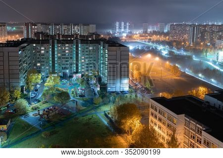 Beautiful Night Landscape In Zelenograd Sleeping Area Of Moscow, Russia