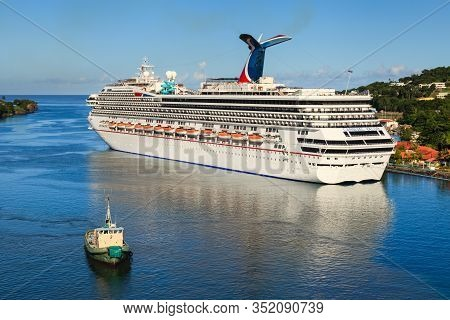 Castries, St Lucia - November 7: Cruise Ship Carnival Valor Docked In Castries On November 7, 2013.