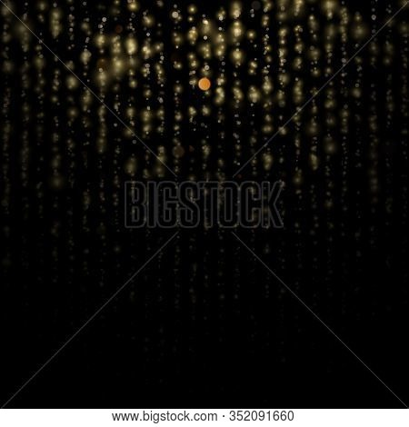 Gold Particles Lines Rain. Sparkling Of Shimmering Light Blurs. Glitter Threads Of Curtain Backdrop