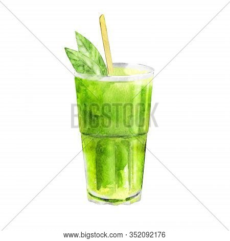 Watercolor Illustration Of Matcha Latte. Glass Of Frappe Isolated On White. Hot Or Cold Drink Of Gro