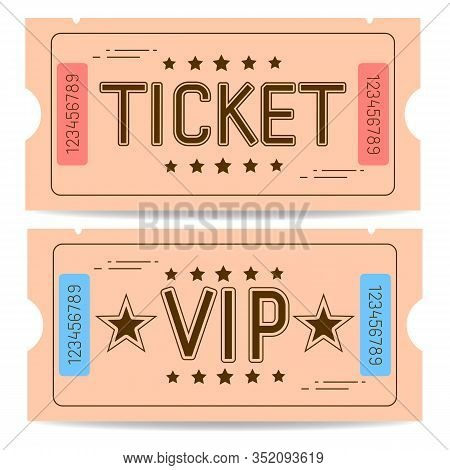 Set Vector Of A Ticket Icon In A Flat Style. Retro Ticket Stub .
