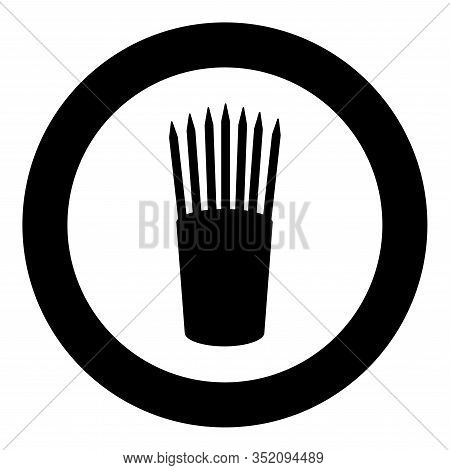 Pencils In Glass Stands Upright Office Supplier Concept Work Place Icon In Circle Round Black Color
