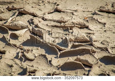 Parched Shrinking Clay Soil In Hot Weather