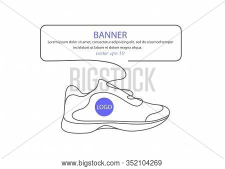 : Sports Shoes In A Line Style. Sneakers Vector . Sketch Sneakers For Your Creativity.shoe Advertisi