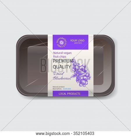 Craft Packaging For Snacks. Branded Package For Natural Eco Chips. Sketch Blueberries.