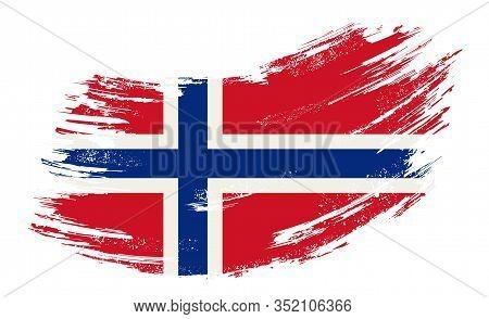Norwegian Flag Grunge Brush Background. Vector Illustration.