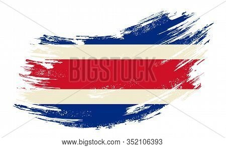 Costa Rican Flag Grunge Brush Background. Vector Illustration.