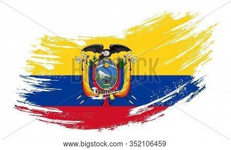 Ecuadorian Flag Grunge Brush Background. Vector Illustration.