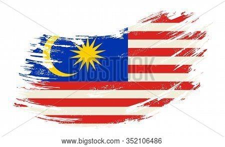 Malaysian Flag Grunge Brush Background. Vector Illustration.
