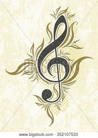 Vintage Musical Vector Background With Treble Clef.