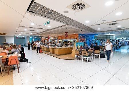 Larnaca, Cyprus - November 12. 2019. Food Court Area At International Airport