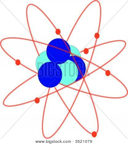 An illustration of an atom with electrons poster