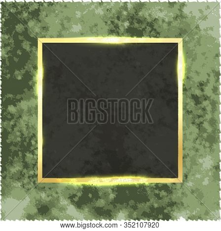 Square Gold Frame With Shine On A Vintage Grunge Background.