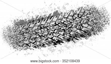 Vector Trail Design Trace Of The Tyre In Grunge Style For Your Design.