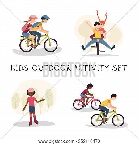 Teenagers Outdoor Activity And Multicultural Friendship Concept. Different Ethnic Children Having Fu