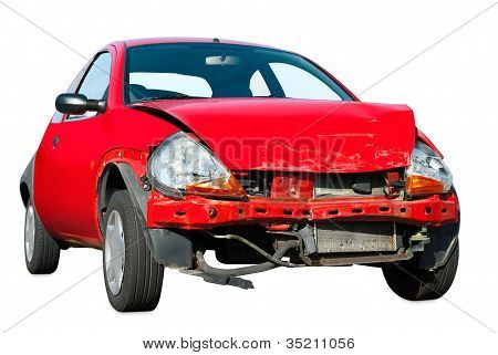 Crashed Car On White Background