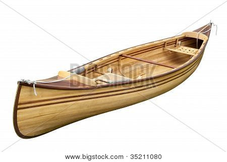 Small wooden empty rowing boat isolated on pure white background poster