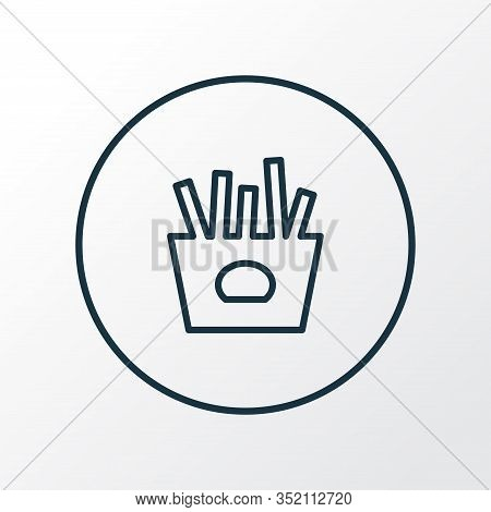 French Fries Icon Line Symbol. Premium Quality Isolated Salty Potato Element In Trendy Style.