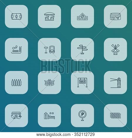 Urban Icons Line Style Set With Swimming Pool, Lighthouse, Football Field And Other Palisade Element