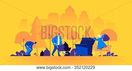 Group Of People Sweeping Street, Collecting, Sorting And Disposing Trash In Park. Environmental Volu