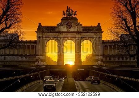 Sunrise In The Center Of The Cinquantenaire Arcades, Brussels