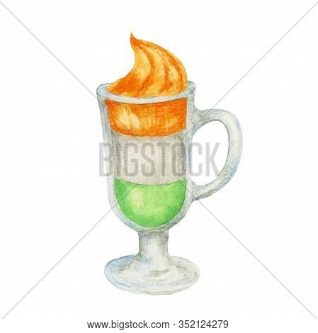 Glass With Irish Coffee. A Cup Of Coffee In The Colors Of The Irish Flag. Funny Watercolor Illustrat