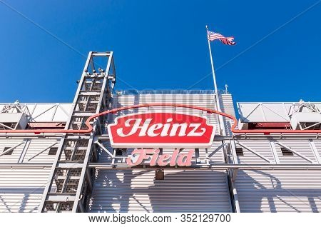 Pittsburgh, Pennsylvania, Usa 2/22/20 The Heinz Field Sign On The Rear Of The Scoreboard. The Pittsb