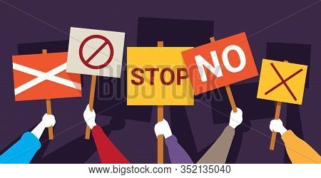 Protesters Hands Holding Peace Protest Posters No Stop Placards Demonstration Speech Activist Rally