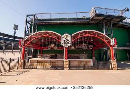 Pittsburgh, Pennsylvania, Usa 2/22/20 Manny Bbq, A Popular Barbecue Stand Located On The Outfield Wa