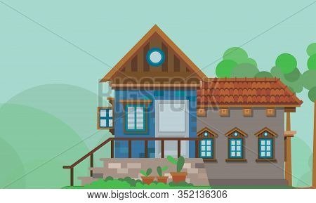 Vector Illustration Of A Family Home In The Countryside With Beautiful Natural Scenery. Perfect For