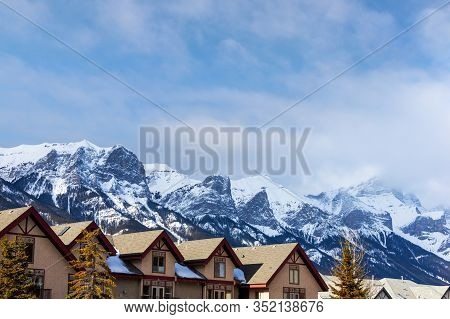 Houses In The Canadian Rockies Of Canmore, Alberta, Canada