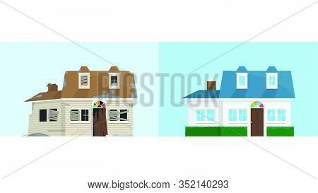 Old Abandoned Rundown House And New Renovation House, Comparison Of House Before And After, Repair A