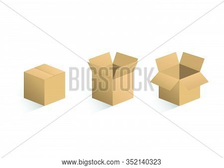 Set Of Brown Cardboard Box, Closed And Open Cardboard Box With Shadow, Axonometric View, Flat Vector