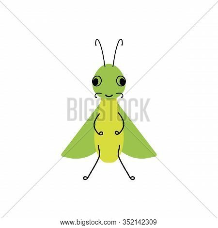 Vector Insect, Grasshopper . Flat Design For Children. Cute Cartoon Kawaii Funny Doodle Character