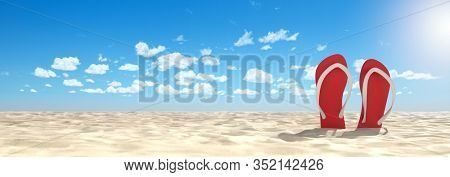 Two red flip-flop sandals on the beach on summer vacation (3d rendering)