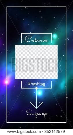Cosmic Background With Copy Space And Swipe Up Button. Colorful Deep Space Background With Stars And