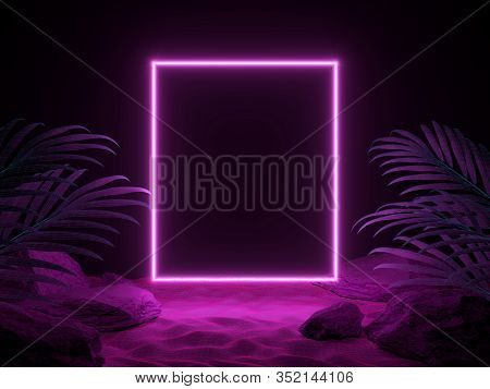 3d Render Futuristic Scene Of Night Beach With Tropical Leaves And Neon Light. Cyberpunk Poster. Nig