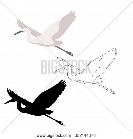 Heron  Vector Illustration, Flat Style,profile Side,black Silhouette