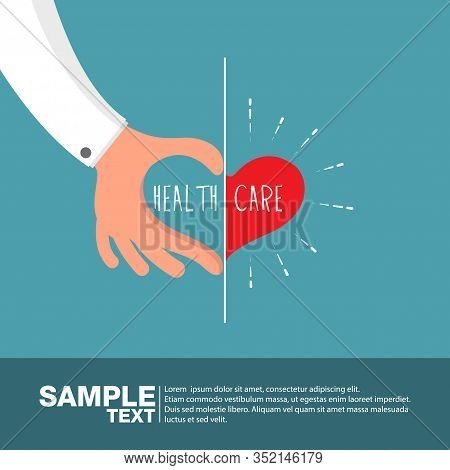 Health Care Concept: Doctor Hand And Patient Hand In Shape Of Heart On Blue Background.