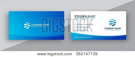 Business Card . Modern Business Card Design . Double Sided Business Card Design Template . Flat Blue