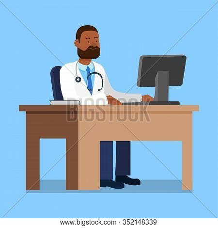 Doctor In White Coat Sit At Table Near Computer. Reception At Ophthalmologist. Check Eyesight. Healt