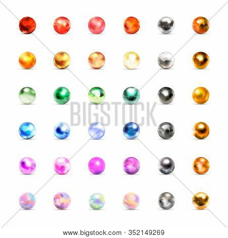 Large Set Of Different Glossy Marble Balls With Glares On White