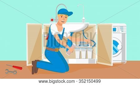 Repairman Changing Water Filter Cartridges. Drinkable Water Filtration System In Open Kitchen Cabine