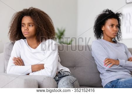 Stubborn African American Teen Daughter Ignoring Angry Annoyed Mom