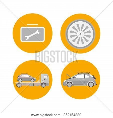 Car Services Range Flat Isolated Illustrations. Tire Fitting, Replacement. Comprehensive Vehicle Dia