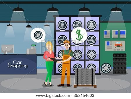 Car Details Shop Interior Flat Vector Illustration. Female Client, Woman, Girl Buying New Wheels, Ti